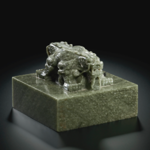 An imperial green jade 'wufu wudai tang guxi bao' seal, Qing Dynasty, est. $1 million to $1.5 million at Sotheby's. (Courtesy Sotheby's)