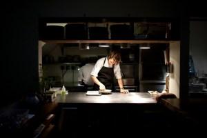 Preparation in the kitchen at Aska.