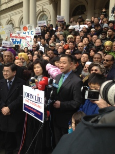 John Liu standing in front of City Hall today.
