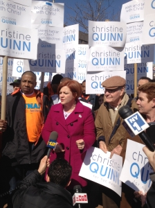 Christine Quinn in the Bronx with supporters and her father, Larry.
