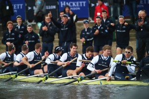 Members of the Isis crew celebrate the Oxford victory.