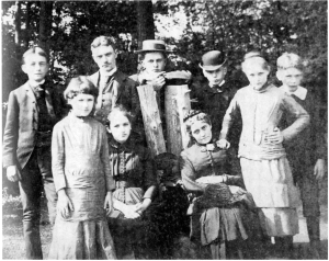 The 'Astor orphans' and their cousin Mary Marshall at Rokeby. From left: Willie, Alida, Archie, Elizabeth, Wintie, Mary Marshall, Lewis, Margaret and Bob. (Photo c. 1884)
