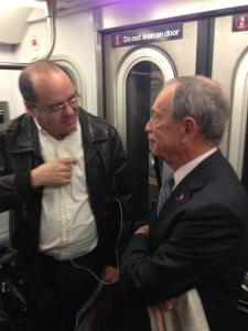 """""""Mayor Bloomberg on the 5 Train to City Hall this AM. We'll have a full briefing on security in the city at 12:30pm"""" (Photo: Twitter/@MarcLaVorgna)"""