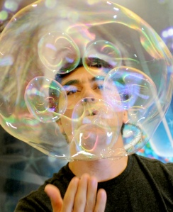 Canadian bubble artist Yang Fan, who has