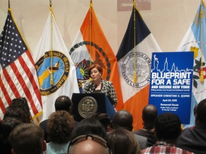 Christine Quinn outlined her public safety proposals in a speech on Wednesday. (Photo: Jill Colvin)