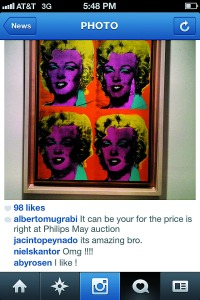 An Instagram post on Alberto Mugrabi's account.
