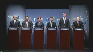 The Democratic candidates sparred during their first televised debate. (Photo: NY1)