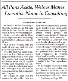 """The Times front-page story on Rep. Weiner: """"All Puns Aside ..."""" (Photo: Newseum.org)"""
