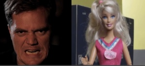 Michael Shannon (left) and a Barbie.