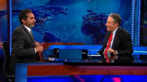 Jon Stewart interviews his Egyptian counterpart Bassem Youssef. (Photo: Screenshot)