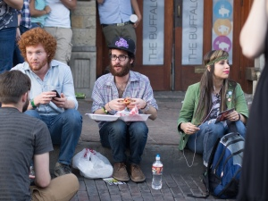 Young Hipsters eat street food during SXSW 2013