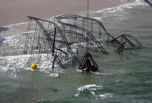 The Jersey Shore's iconic JetStar Roller Coaster, destroyed after Superstorm Sandy