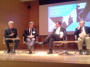 Panelists discuss a progressive vision for New York City at the CUNY Graduate Center.