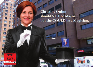 "An ""NYC Is Not for Sale"" mailer against Speaker Quinn. Full ad here."