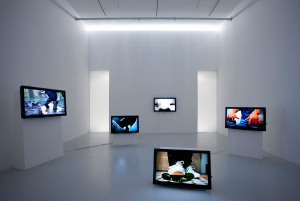 A.K. Burns, installation view of 'Touch Parade, 2011,' at TAG, The Hague, the Netherlands, in 2012. (Photo by Gert Jan van Rooij, courtesy the artist and Callicoon Fine Arts)