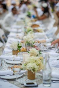 All-white table settings.