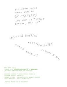 The official Heathers announcement. (Courtesy Publication Studios)