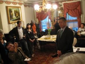 Jon Liu at a fundraiser in Brooklyn Friday evebning. (Photo: Jill Colvin)