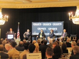 Four of the Democratic mayoral candidates at a Crain's New York Business forum. (Photo: Jill Colvin)