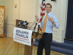 Anthony Weiner speaks at his first forum appearance Thursday night. (Photo: Jill Colvin)