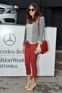 A guest at Istanbul fashion week sports an IRO jacket.