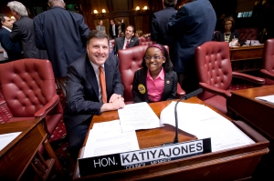City Councilman Mark Weprin and Katiya Jones. (Photo: City Council/William Alatriste)