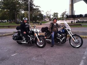 John Liu and Peter Vallone Jr. pose on their sweet rides. (Photo: Facebook)
