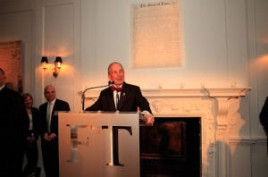 Michael Bloomberg Toasts The FT. (Photo credit: The Financial Times).