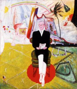 Henry McBride, who was an art critic for The New York Sun in the 1920s, in a painting by Florine Stettheimer. (Courtesy Smith College)