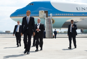 President Barack Obama arriving at JFK this afternoon. (Photo: SAUL LOEB/AFP/Getty Images)