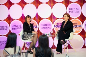 FORTUNE's Pattie Sellers interviewing Christine Quinn. (Photo: Rebecca Greenfield for FORTUNE)