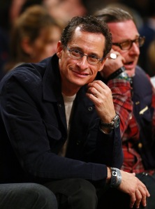 Anthony Weiner at a basketball game. (Photo by Elsa/Getty Images)