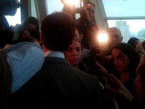 Anthony Weiner's post-debate gaggle yesterday. (Photo: Jill Colvin)