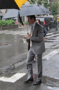 The rain interfered with Anthony Weiner's plans to bike to his first debate.