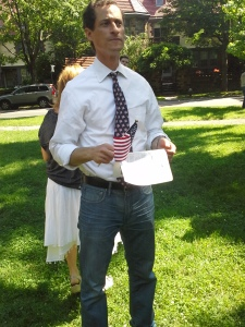 Anthony Weiner waits to be introduced at a Forest Hills Gardens Flag Day ceremony.