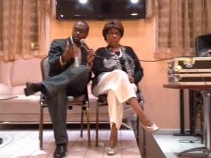 Journalist Roy Paul interviewing ex-State Senator Shirley Huntley earlier today.