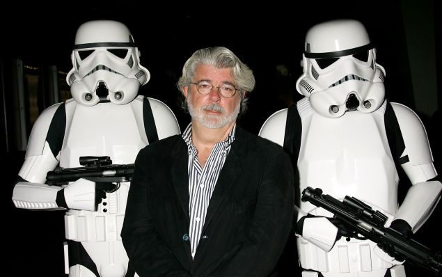 """George Lucas presents the film """"Star Wars - Episode IV: A New Hope"""" at AFI's 40th Anniversary celebration presented by Target held at Arclight Cinemas on October 3, 2007 in Hollywood, California. (Photo by David Livingston/Getty Images for AFI)"""
