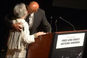 Harry Belafonte presents Marge Champion with the Douglas Watt Lifetime Achievement award.  (Monica Simoes)