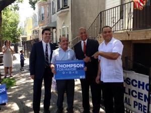 Bill Thompson celebrating new endorsements. (Photo: Twitter/@BillThompsonNYC)