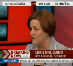 Christine Quinn speaking on MSNBC.