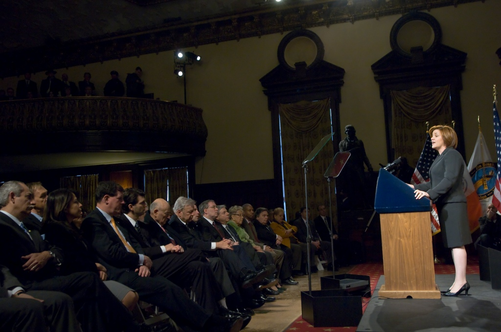 Christine Quinn delivers final State of the City address. (Photo: William Alatriste)