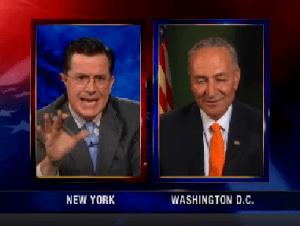 Stephen Colbert and Senator Chuck Schumer (photo: colbertreport.com)