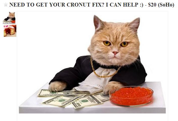 A cronut-pushing cat. (Photo: Craigslist)