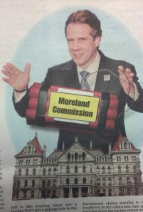 The New York Post today showed Gov. Andrew Cuomo figuratively bombing Albany.