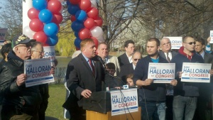 Dan Halloran, at a happier time, announcing for Congress last year.