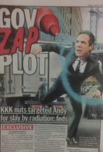 The Daily News imagines a death ray attack on Gov. Cuomo.