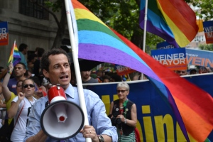 Anthony Weiner charges up the crowd at Stonewall.