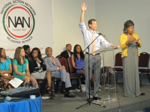 Anthony Weiner speaking to the National Action Network Saturday.