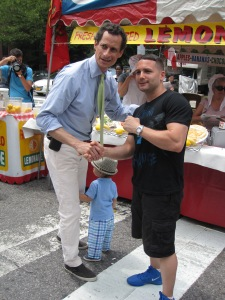 Anthony Weiner greeting voters on Father's Day.