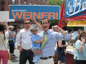 Anthony Weiner's 17-month-old son, Jordan, joined him on the campaign trail Sunday.